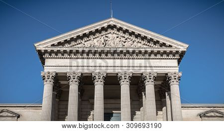 Architectural Detail Of The Courthouse Of Montpellier, France