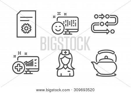 Methodology, File Settings And Smile Icons Simple Set. Hospital Nurse, Medical Analytics And Teapot