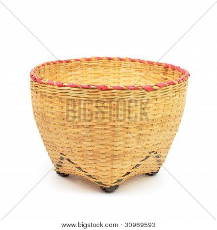 Bamboo Basket Handmade Isolated