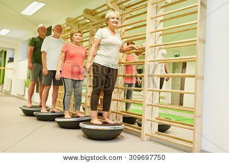 Group of seniors exercising at physiotherapy balance on an excercise ball