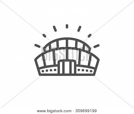 Sports Stadium Line Icon. Arena Sign. Sport Complex Symbol. Quality Design Element. Linear Style Spo