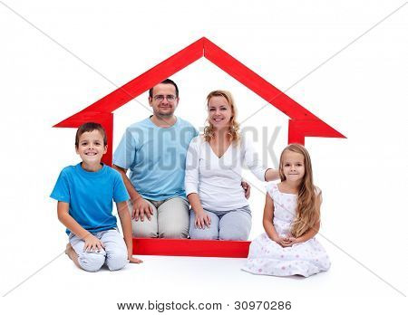 Young family with two kids in their home concept