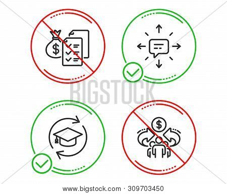 Do Or Stop. Sms, Continuing Education And Accounting Wealth Icons Simple Set. Sharing Economy Sign.