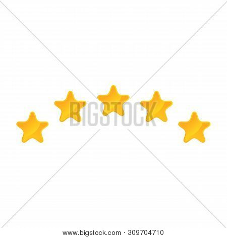 Shiny Golden Star Icon On White Backgrond, Eps 10. Golden Stars Rating. Customer Product Review Cart