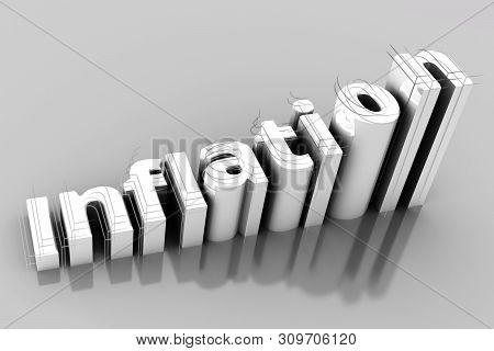 Word Inflation On Up Trend, With Growth Inflation Chart And Word Inflation On Gery Backgroun. 3d Ill