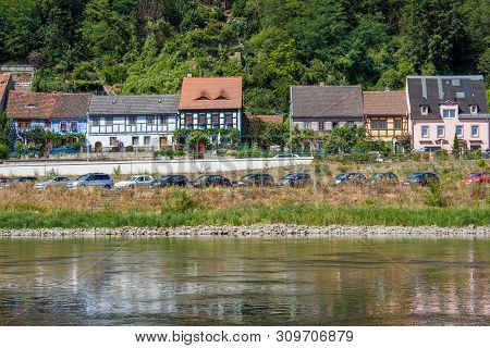 Old Fisherman's Houses On The The River Elbe In Saxony