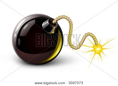 Vektor schwarz Bomb brennen