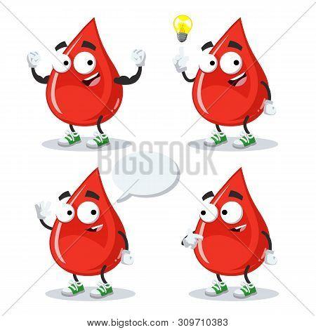 Set Of Cartoon Drop Of Blood Mascot