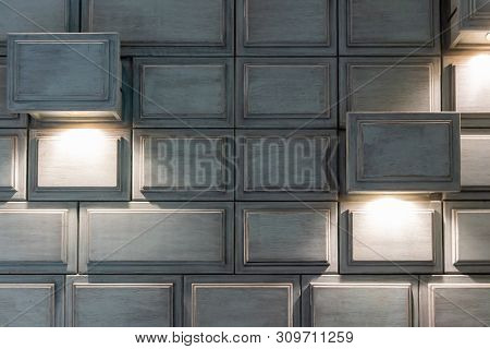 Antique Style Wall Decoration Using Retro Wooden Drawer With Lighting Installed