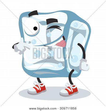 Cartoon Joyful Ice Cube Character Mascot Winks