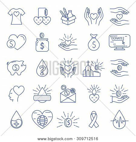 Donation And Charity Icons Line Big Set. Money And Blood, Food Donation. Editable Stroke. Vector Ill
