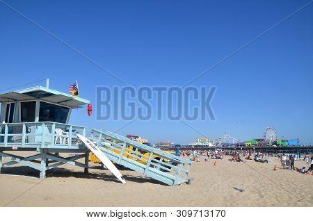 Santa Monica, California- Jun 28, 2019: Life Guard Stand And Tower At The Santa Monica Beach