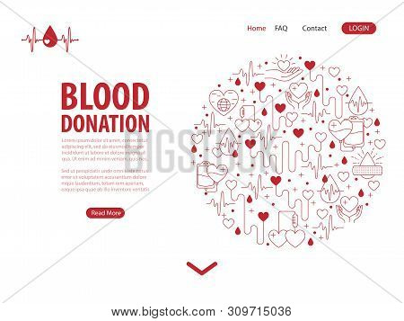 Donation Blood Landing Page. Template For Web Page With Circle Banner From Line Icons Element. Circl