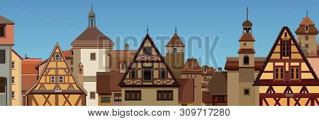 Background Of Drawn European City With Half Timbered Houses