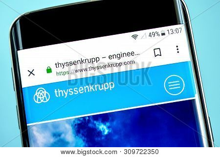 Berdyansk, Ukraine - 14 June 2019: Thyssenkrupp Group Website Homepage. Thyssenkrupp Group Logo Visi