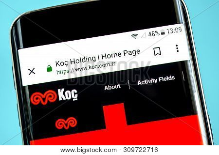 Berdyansk, Ukraine - 14 June 2019: Koc Holding Website Homepage. Koc Holding Logo Visible On The Pho