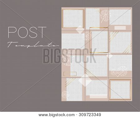 Set of instagram collage.Vector cover. Design backgrounds for social media banner.Set of instagram stories frame templates. Mockup for social media. Endless square pink puzzle layout for promotion.