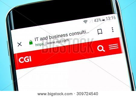 Berdyansk, Ukraine - 14 June 2019: Cgi Group Website Homepage. Cgi Group Logo Visible On The Phone S
