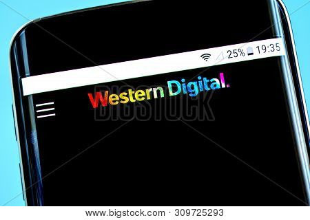 Berdyansk, Ukraine - 14 June 2019: Western Digital Website Homepage. Wd Logo Visible On The Phone Sc