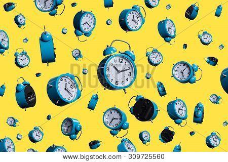Full Frame Shot Of Floating Alarm Clocks . Time Ponctuality Concept . Ringing Clocks