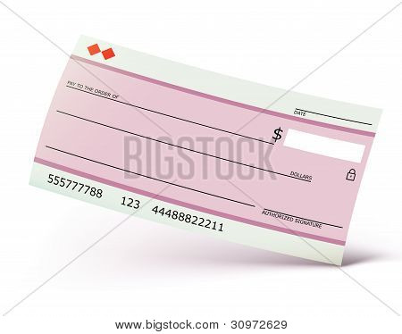 Vector illustration of bank check isolated on the white background poster
