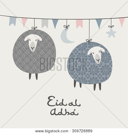 Eid-al-adha Greeting Card, Invitation. Party Decoration. String With Hanging Moon, Stars, Flags. Orn