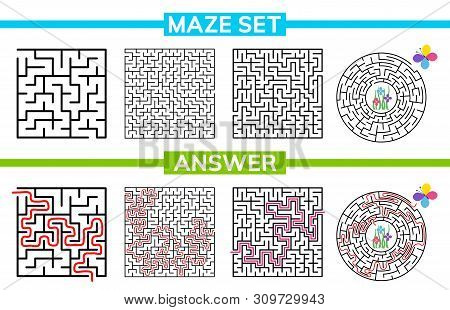 Maze, Labyrinth Conundrum For Kids. Maze Set, Collection Labyrinth. Children Puzzle Game. Vector Sto