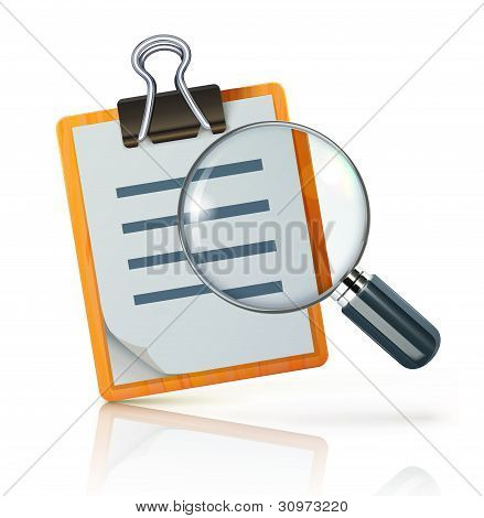 Vector illustration of search concept with check list on clipboard and magnifying glass poster