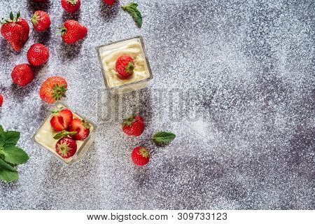 Strawberry Panakota Cold Fresh Milk Sweet Dessert . Summer Healthy Refreshment Dish Cooked Cream Che
