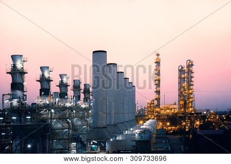Factory Of Oil And Gas Refinery Industrial Plant With Sunrise Sky Background, Petrochemical Industry