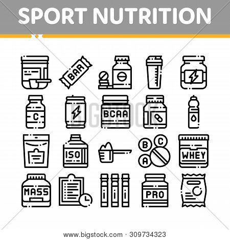 Sport Nutrition Cells Vector Thin Line Icons Set. Sport Nutrition For Sportsmen Linear Pictograms. D