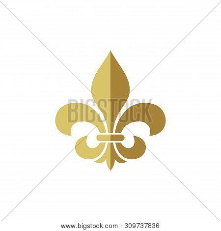 Heraldic Vintage Crest Flower Fleur De Lis Logo Template