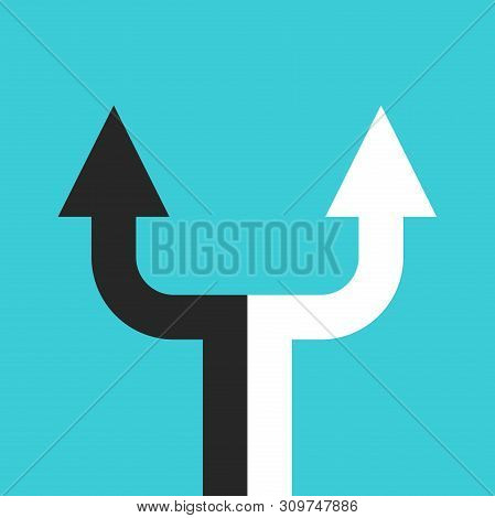 Black And White Double Arrow Dividing In Two Separate Ones. Decision, Partnership, Relationship, Cri
