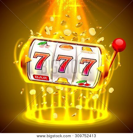 Gold Slot Machine Wins The Jackpot. Big Win Slots 777 Banner Casino.