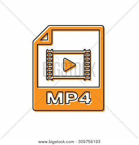 Orange Mp4 File Document Icon. Download Mp4 Button Icon Isolated On White Background. Mp4 File Symbo
