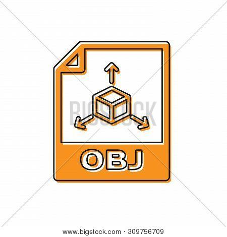 Orange Obj File Document Icon. Download Obj Button Icon Isolated On White Background. Obj File Symbo