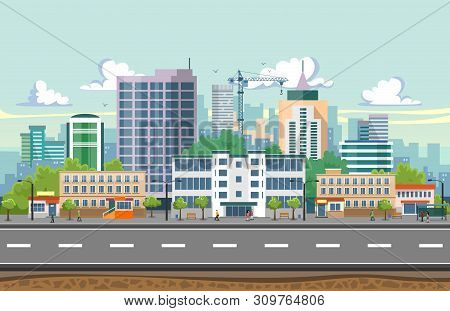 Seamless City Landscape Vector Illustration. Summer City Landscape In Flat Design. Modern City Backg