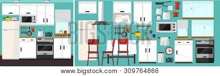 Diy Kitchen Builder Set. Modern Kitchen Constructor In Flat Style With Furniture And Kitchen Supplie