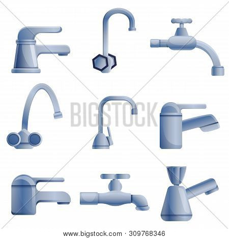 Faucet Icons Set. Cartoon Set Of Faucet Vector Icons For Web Design