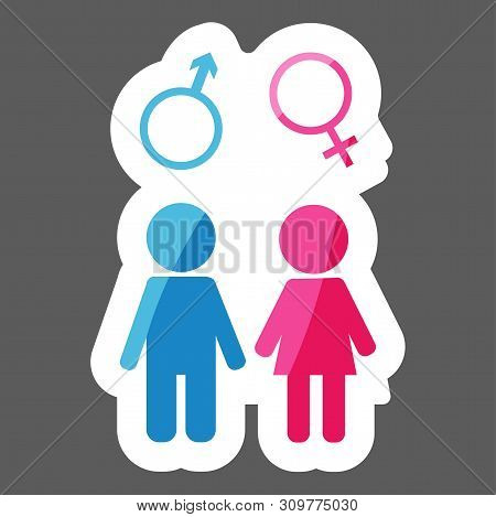 Vector Colored Sticker Icon Of Man And Woman. A Symbol Of Man And Woman. Layers Grouped For Easy Edi