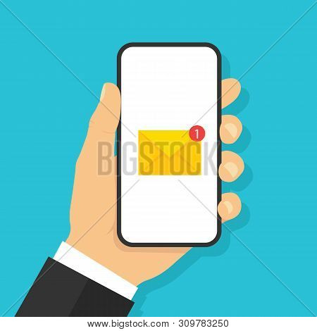 Hand Holding Smartphone With Email Icon. Flat Style - Stock Vector.