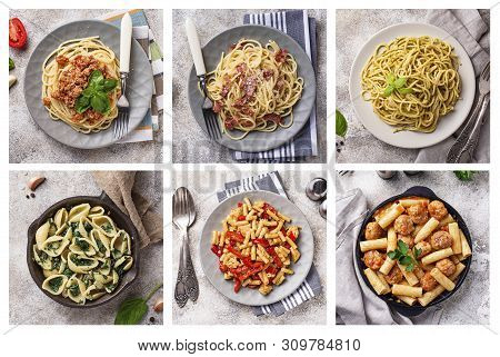 Collage With Different Pasta Dish. Carbonara, Bolognese, With Spinach, With Meatball, Spaghetti With