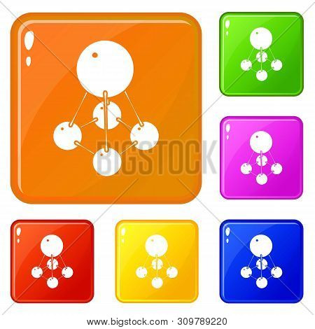 Nitromethane Icons Set Collection Vector 6 Color Isolated On White Background
