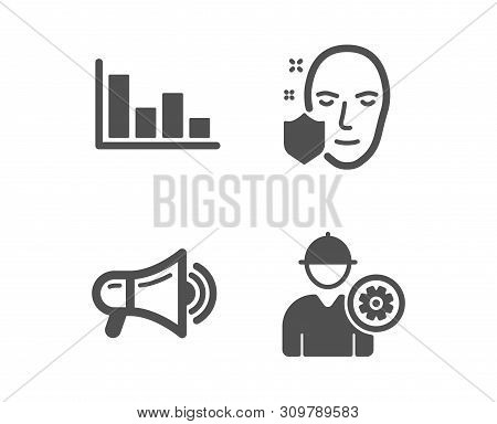 Set Of Histogram, Face Protection And Megaphone Icons. Engineer Sign. Economic Trend, Secure Access,