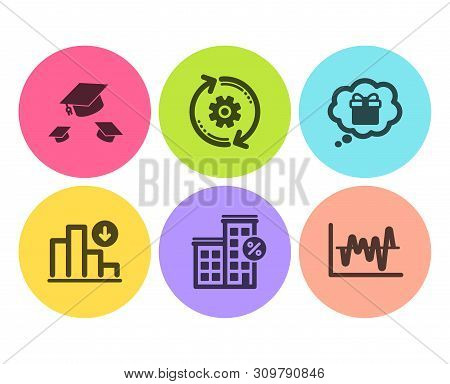 Cogwheel, Throw Hats And Decreasing Graph Icons Simple Set. Loan House, Gift Dream And Stock Analysi