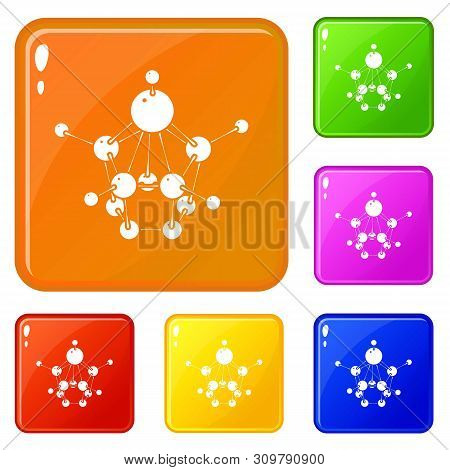 Aspirin icons set collection vector 6 color isolated on white background poster