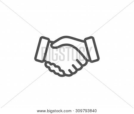 Handshake Line Icon. Hand Gesture Sign. Business Deal Palm Symbol. Quality Design Element. Linear St