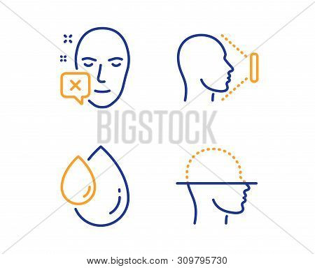 Face Declined, Oil Drop And Face Id Icons Simple Set. Identification Error, Serum, Identification Sy