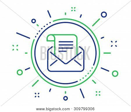 Mail Newsletter Line Icon. Read Message Correspondence Sign. E-mail Symbol. Quality Design Elements.