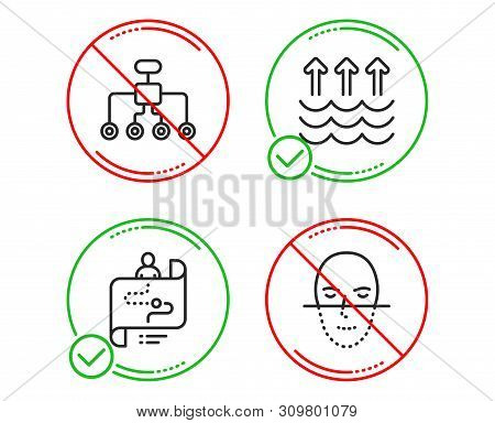 Do Or Stop. Restructuring, Evaporation And Journey Path Icons Simple Set. Face Recognition Sign. Del